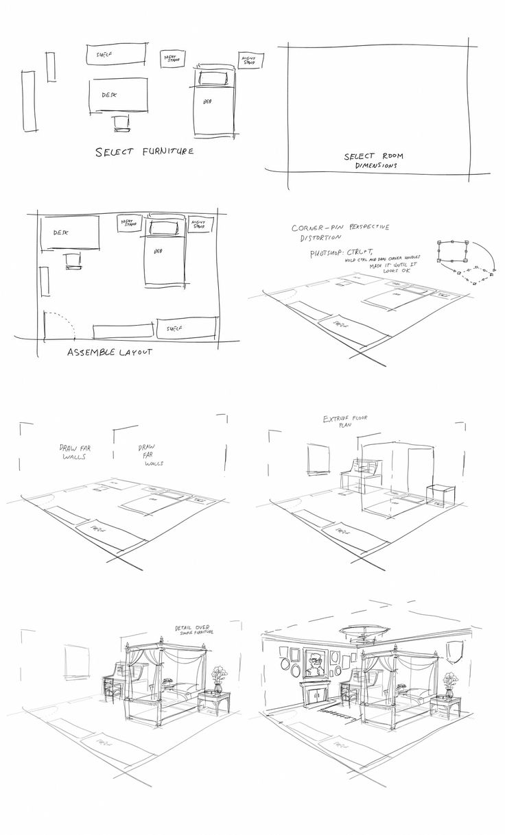 Bedroom In One Point Perspective Interior Drawing Sketch: Cheap Home Decoration Stores #HomeDecoratingArticles