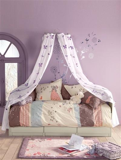 Rideau pour ciel de lit fille thème féérie BLANC - vertbaudet enfant