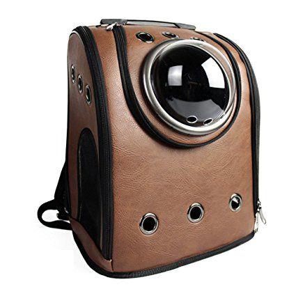 Astronaute Sac, iTECHOR PU cuir chien chat animal sac à dos transporteur de compagnie épaule voyage sac - café