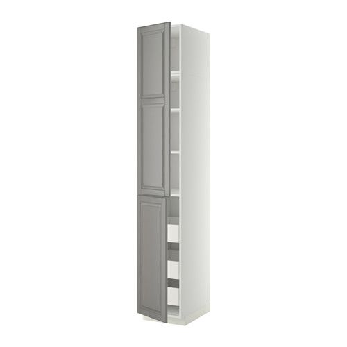 МЕТОД / ФОРВАРА Высокий шкаф+полки/3 ящика/2 дверцы IKEA Ящик ФОРВАРА выдвигается на ¾ своей глубины и обеспечивает достаточно места для хранения.