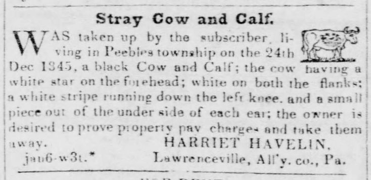 Harriet Havlin Notice Jan. 1846