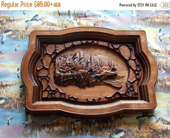 Duck Hunting Wall Hanging.  Wood Wall Art Decor. Duck Hunting Decor.  Hunter's Gift. Woodworking Home Decor. CNC Relief Carving.