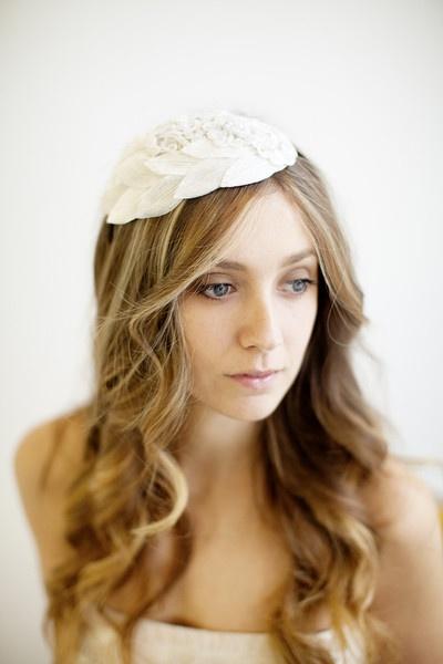 Whimsical embellished lace bridal headpiece - style 110 by White Truffle Studio: Style 110
