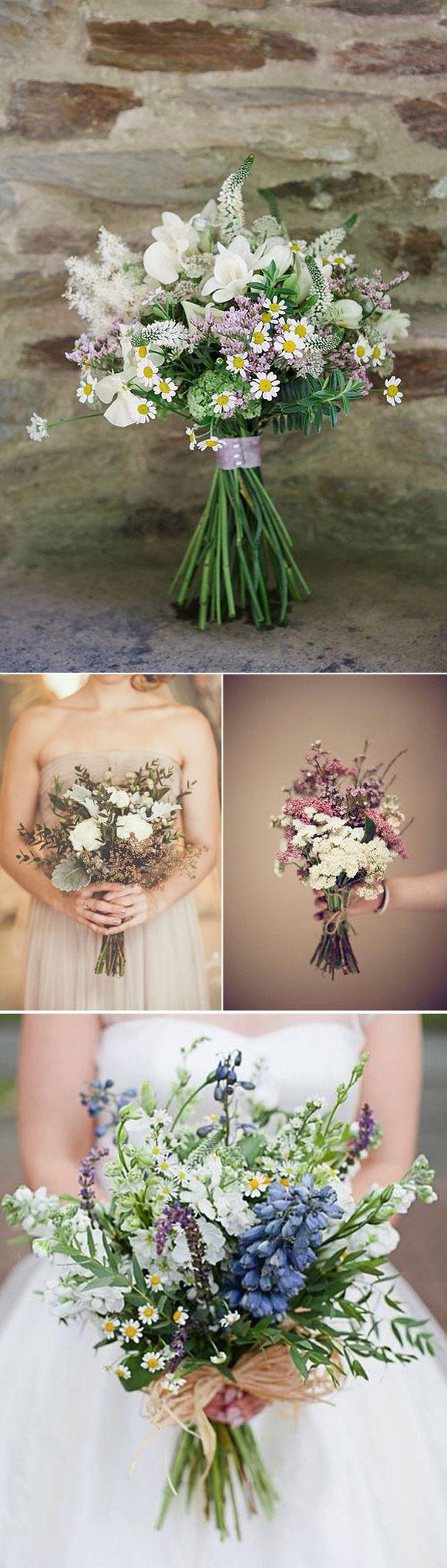 Flores silvestres en los ramos de novia
