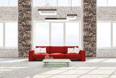 Binnenland van woonkamer met het rode bank 3d teruggeven Stock Foto