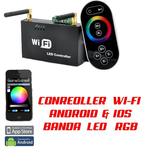 controller banda led rgb 5050 controller telecomanda wireless wifi cu androdid ios iphone , foloseste usor telefonul tau pentru a controla banda cu led rgb 5050 smd prin wifi