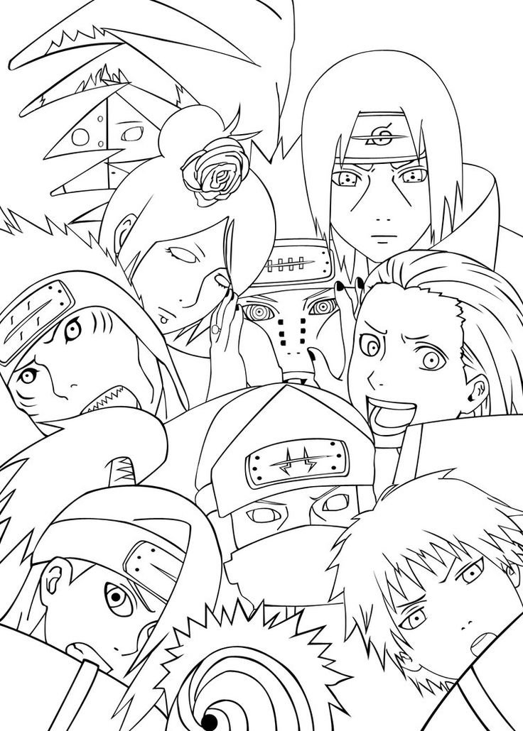 Akatsuki Team Coloring Pages For Kids Printable Naruto