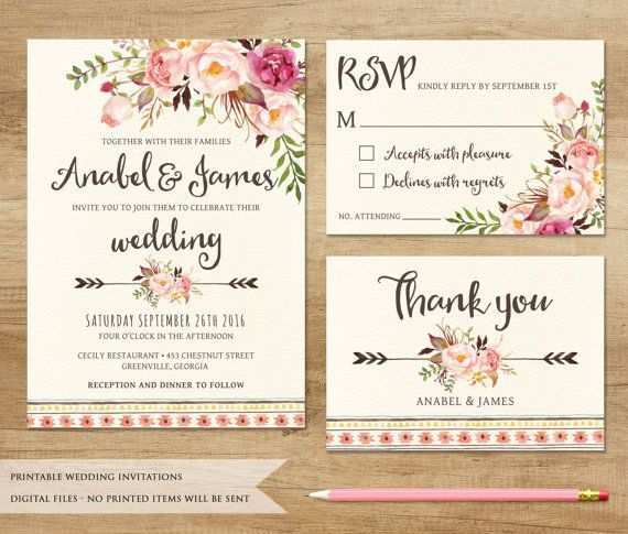 Floral Wedding Invitation. Printable Wedding von SweetPeonyDesign