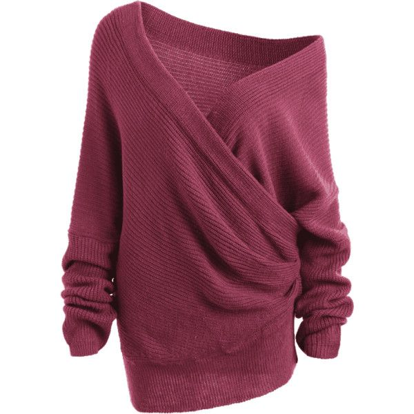 Ruched Off The Shoulder Sweater Purplish Red ($16) ❤ liked on Polyvore featuring tops and sweaters