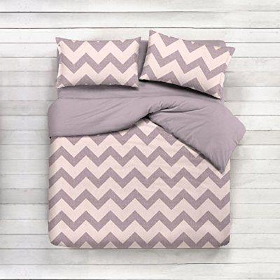 Cotton Duvet Design Chevron Beige Bedding Set 135x 200cm Pillow 80x 80cm