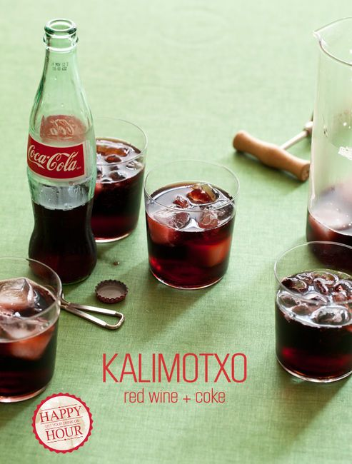 Red Vino & Coke...: Happy Hour, Coca Cola, Kids Drinks, Kalimotxo, Spoons Forks Bacon, Summertime Drinks, 4 Ingredients, Red Wines, Cocktails Recipes