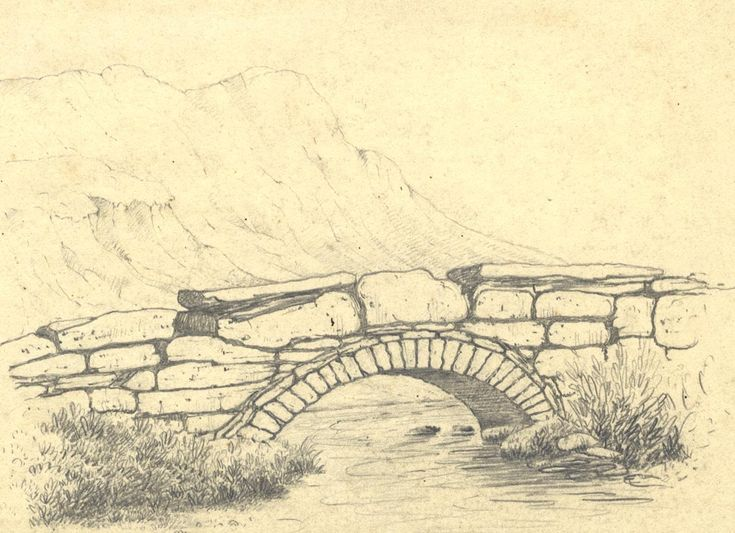 Late 19th century graphite drawing river running under for What is landscape drawing