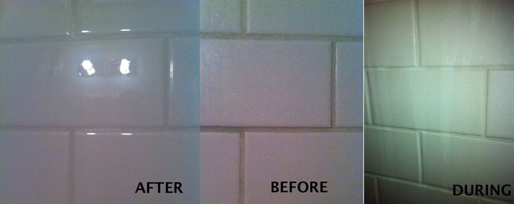 Another pinner says:  Hot Vinegar and Dawn Soap! Seriously, I saw this on Pinterest and decided to try it on my white shower tile...WOW! 1 cup of HOT Vinegar (microwave 1-2 min) and 1 cup of blue DAWN liquid soap. Shake into bottle and creates a gel that is OUT OF THIS WORLD!