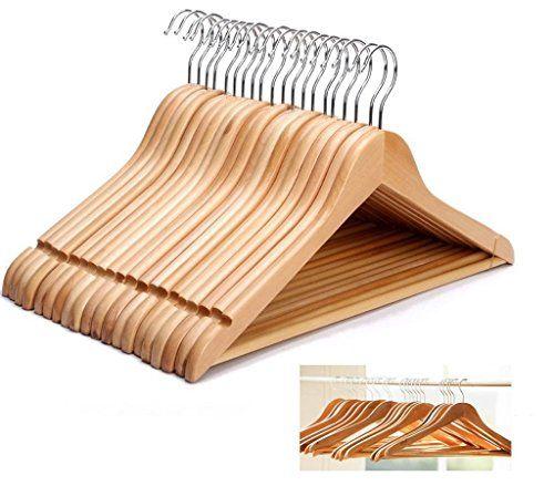 KEPLIN Cintres en bois avec barre pour pantalon cintre pour vêtements Penderie en bois Set, 20 #KEPLIN #Cintres #bois #avec #barre #pour #pantalon #cintre #vêtements #Penderie #Set,