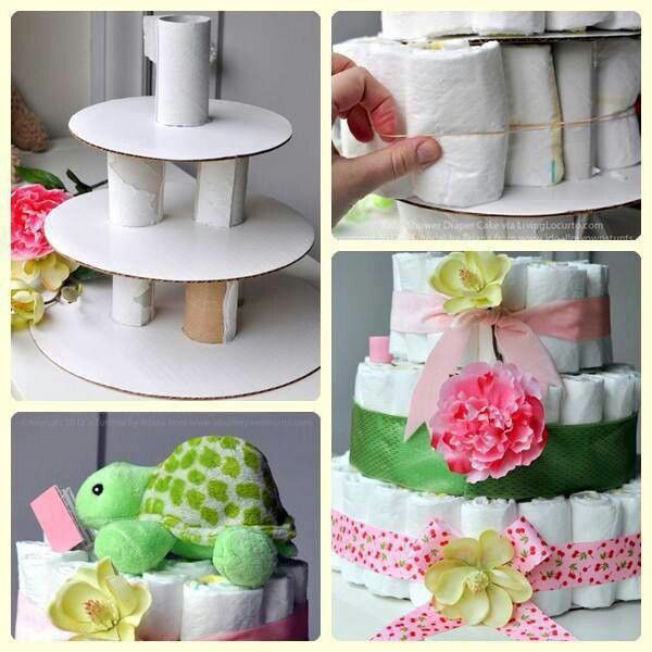 Diaper cake --save the toilet paper rolls!! a little more basic than the one I made but love the idea