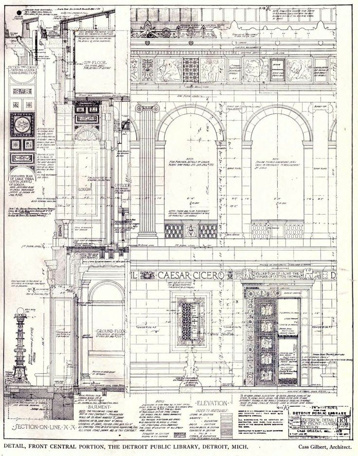 Detail drawings for the façade of Cass Gilbert's Public Library, Detroit.