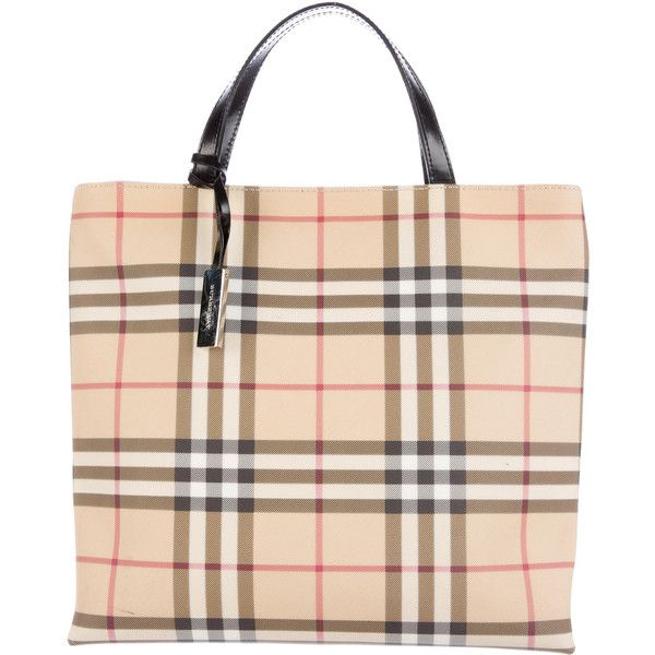 Pre-owned Burberry Nova Check Tote ($500) ❤ liked on Polyvore featuring bags, handbags, tote bags, black, burberry handbags, handbags totes, man tote bag, burberry purses and burberry tote