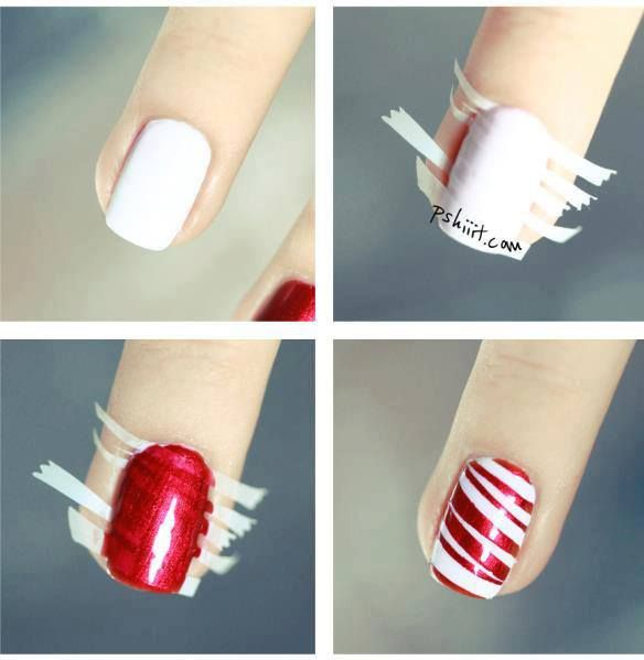 How to make red stripe nail art step by step DIY instructions
