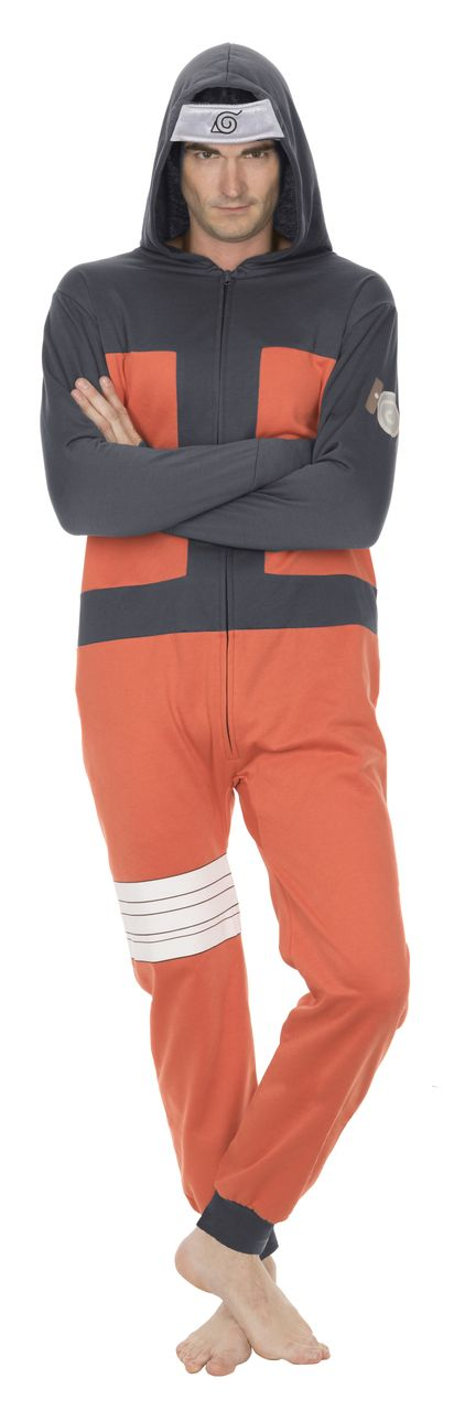 Animated TV Show Naruto Shippuden Hidden Leaf Village Adult Hooded One Piece Pajama