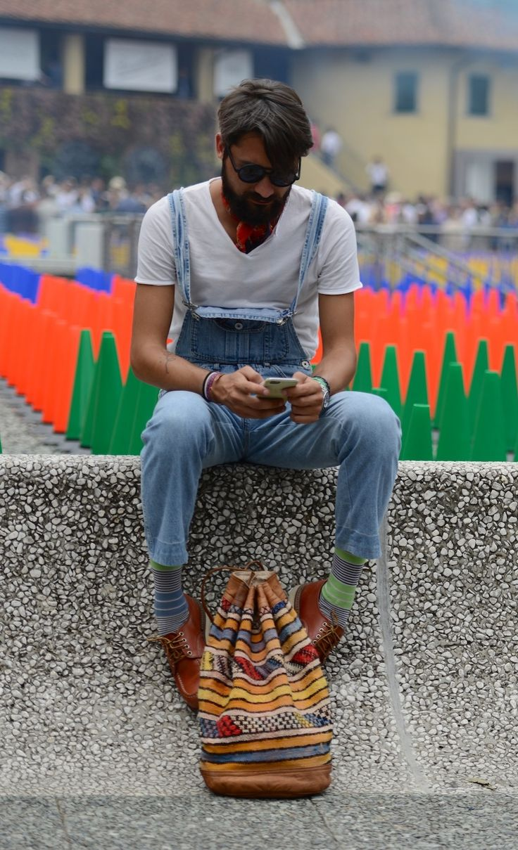 Menswear inspiration: Overalls in Florence at Pitti Uomo.