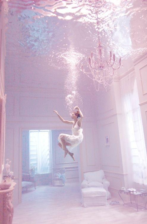 pastel grand home swimming figure underwater chandelier