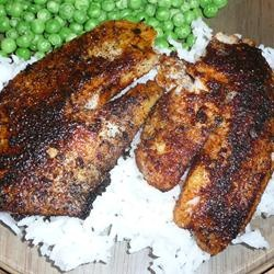 Fillets of red snapper are coated with a mixture of pepper and herbs, then cooked at high heat until the coating blackens. Spicy and delicious!: Peppers, Red Snapper, Coats Blackened, High Heat, Herbs, Mixture,  Meatloaf, Meat Loaf, Delicious