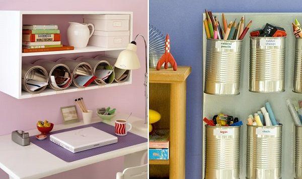 Decora el escritorio de tus ni os con latas que mantendr n - Decoracion con cosas recicladas ...