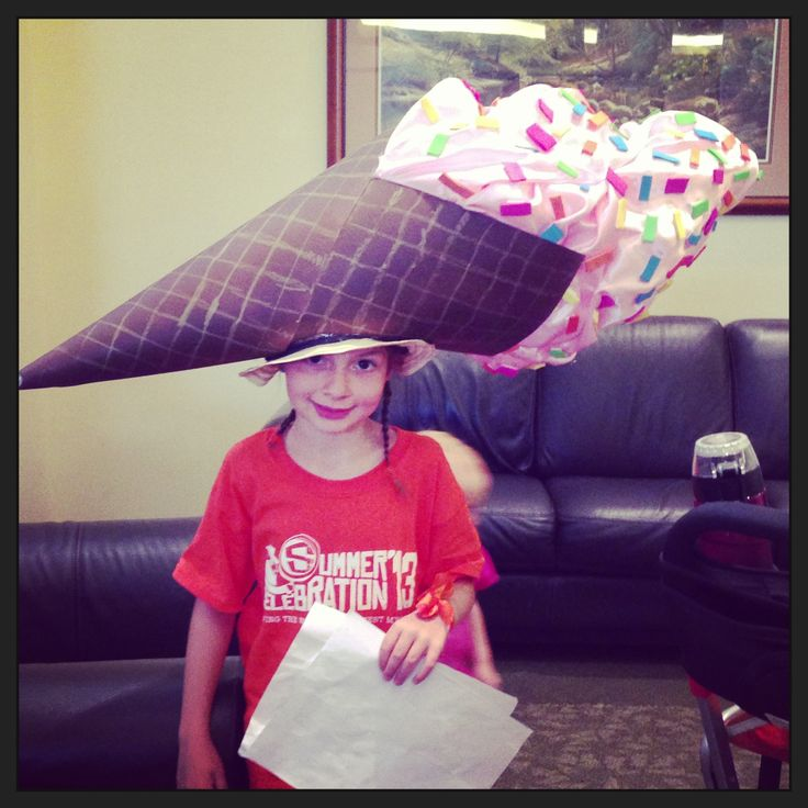 We made this Ice Cream Cone hat for crazy hat day at our churches VBS.
