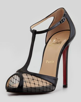 Lagoula T-Strap Fishnet Red Sole Pump by Christian Louboutin at Neiman Marcus | shoes