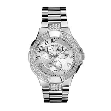 Ladies Stainless Steel with stone detail. http://www.sterns.co.za