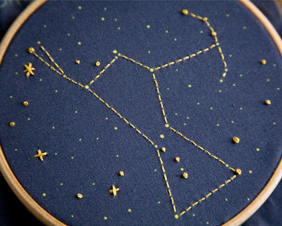 Aries Zodiac Embroidery Kit diy constellation por MiniatureRhino
