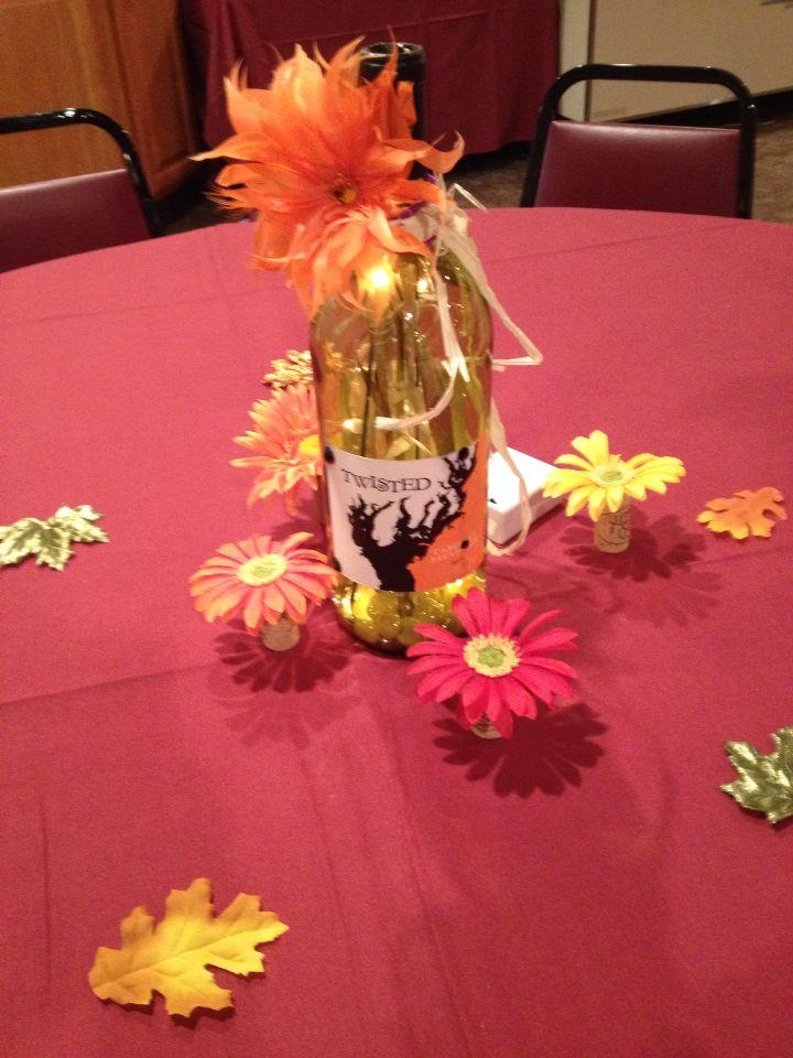 Lighted wine bottle Halloween theme