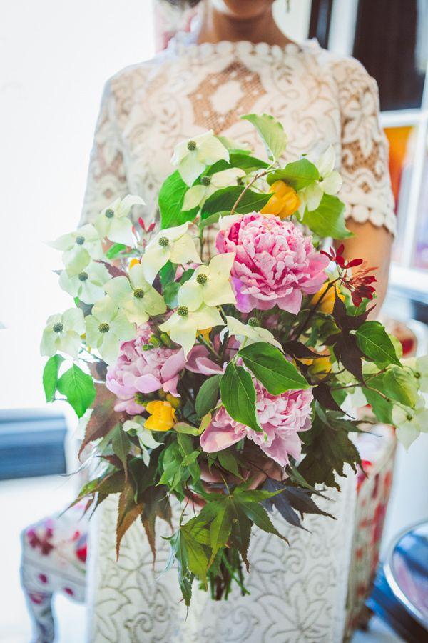 lush bouquet // photo by Amber Gress // View more: http://ruffledblog.com/boho-greenpoint-loft-wedding/