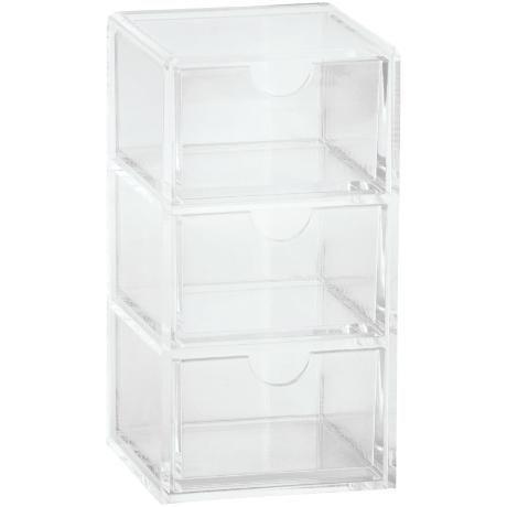 Förvaringslåda Saltsjön 14,5 cm Förvaringsbox i transparent akryl med tre utdragbara lådor. Bredd: 7 cm Höjd: 14,5 cm Djup: 7 cm  149:- Nr. 88270877 www.ahlens.se