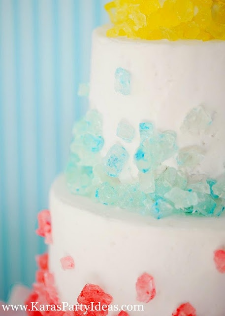detail of rock sugar candy birthday cake.