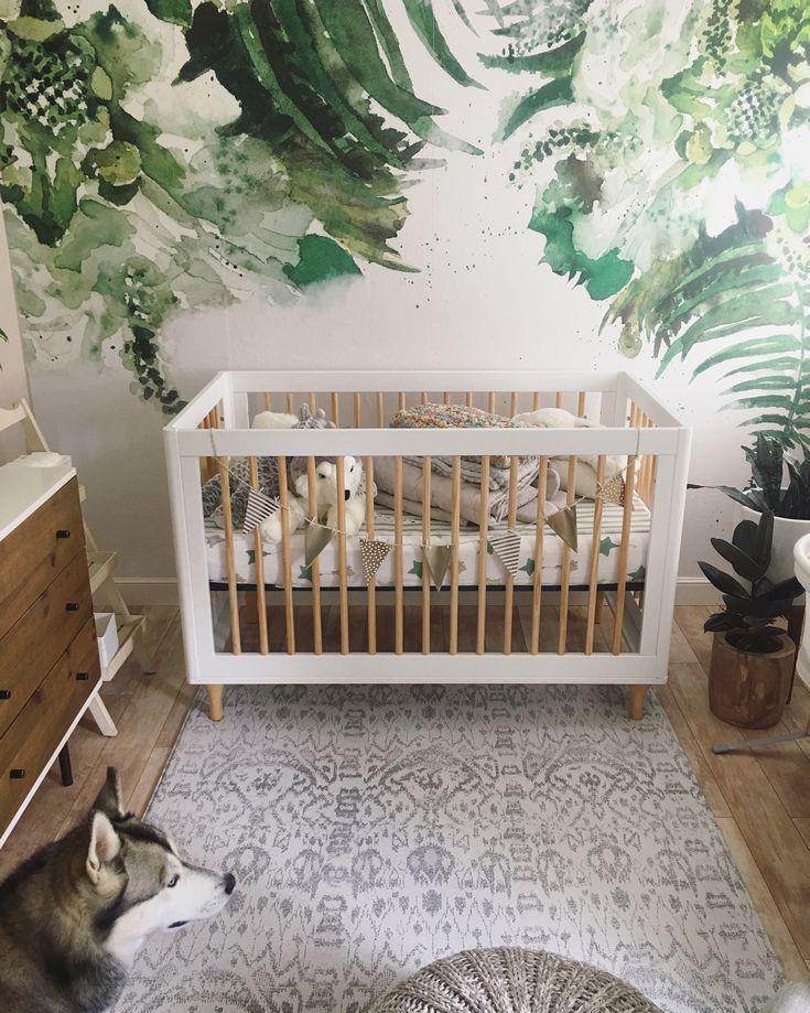 Green leaf for vintage nursery design. Removable wallpaper