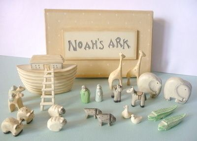 Delightful Hand Crafted mini Noah's Ark Set from East of India. Our Best Selling Christening Gift for a Little Boy.
