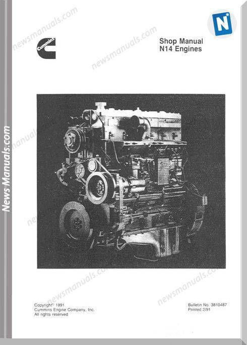 Cummins N14 Engines Shop Manual Celect And Celect Plus Cummins Repair Manuals Manual