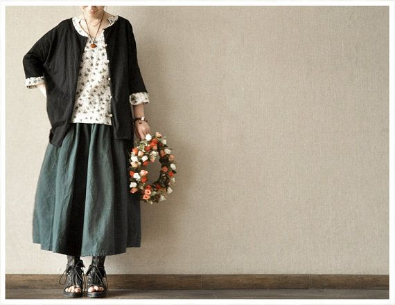 Causel Loose Green Cotton Big Long Women Skirt by clothingshow, $53.00