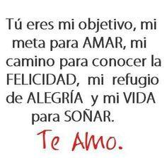 Tú eres mi objetivo, mi meta para Amar, mi camino para conocer la Felicidad, mi refugio de Alegría y mi Vida para Soñar. Te Amo!  ♥