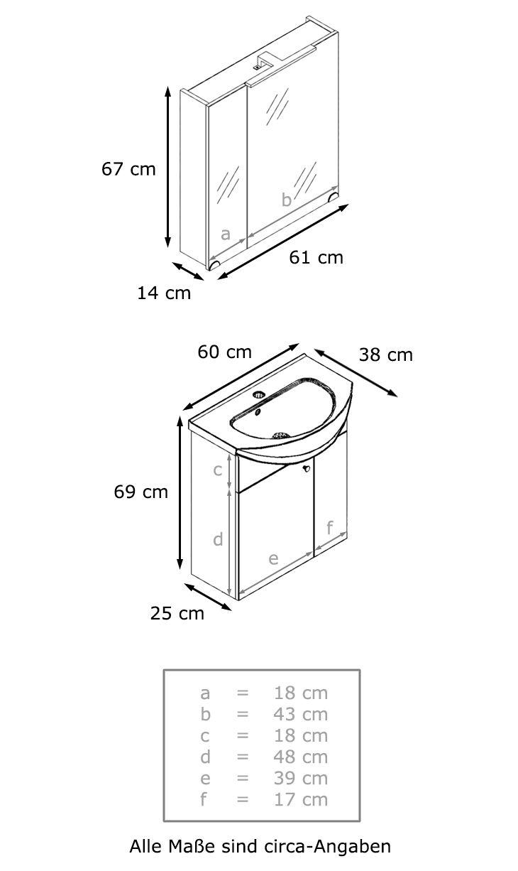 Luxury  ucul ue ucli class ud Stil ueBadm uouml belset mit einem h uauml ngenden Waschbeckenunterschrank Keramikwaschbecken und einem Spiegelschrank mit LED