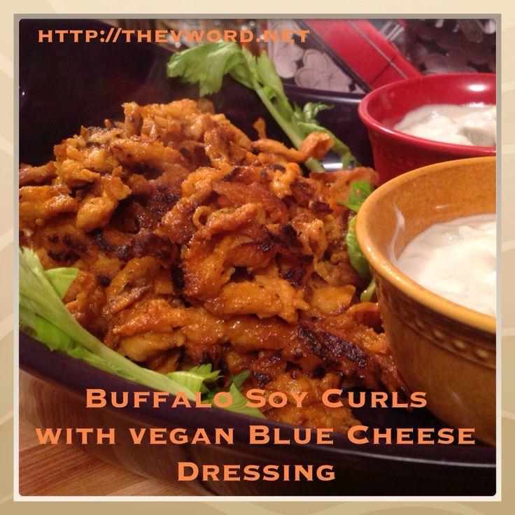 Buffalo Soy Curls w/ Vegan Blue Cheese Dressing