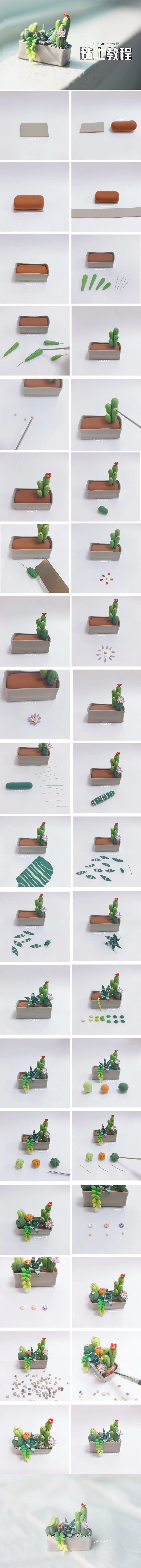 Mini jardin de cactus en pâte polymère