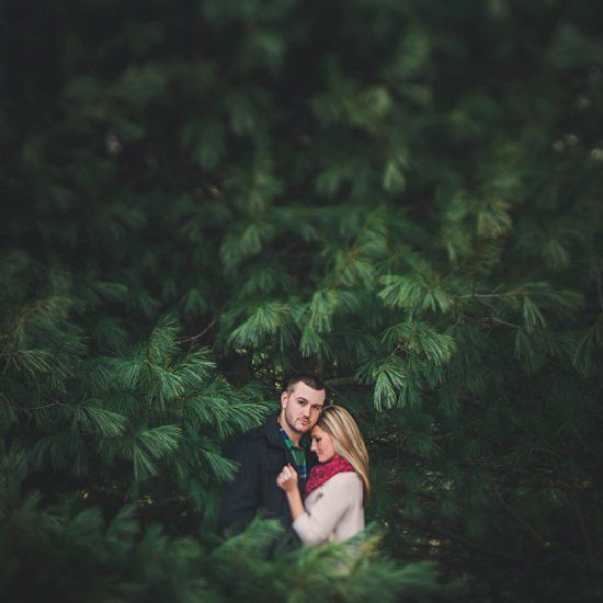 A lovely winter engagement session at a Christmas tree farm in Ohio!