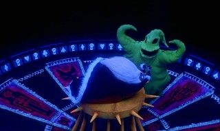 Oogie Boogie teaches Santa the true meaning of torture on his black-lit roulette wheel of doom.