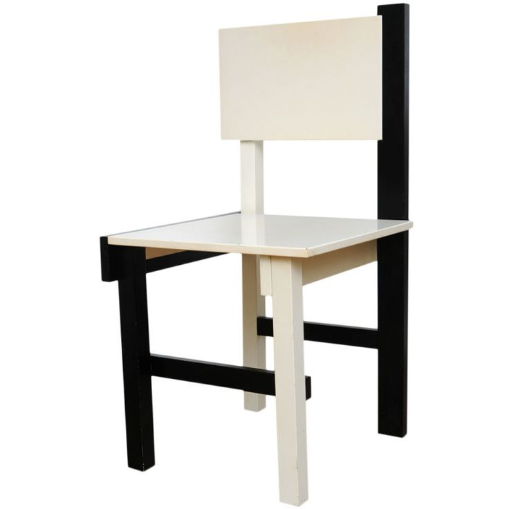 Black and White Chair by Gerrit Rietveld | 1stdibs.com