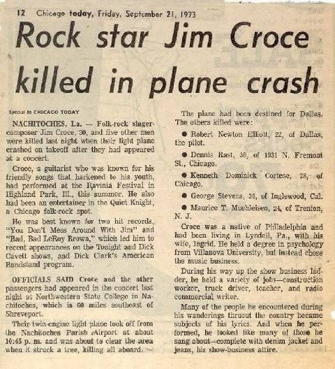 A clip of the newspaper story the day after Jim Croce was killed in a plane crash on Sept. 20, 1973, seven months after the Harper concert.