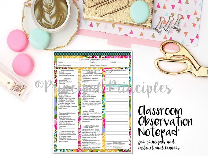Classroom Observation Notepad for instructional leaders, principals, instructional coaches, school administrators.