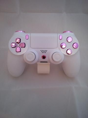 Arctic White Themed & Pink Buttons PS4 Controller
