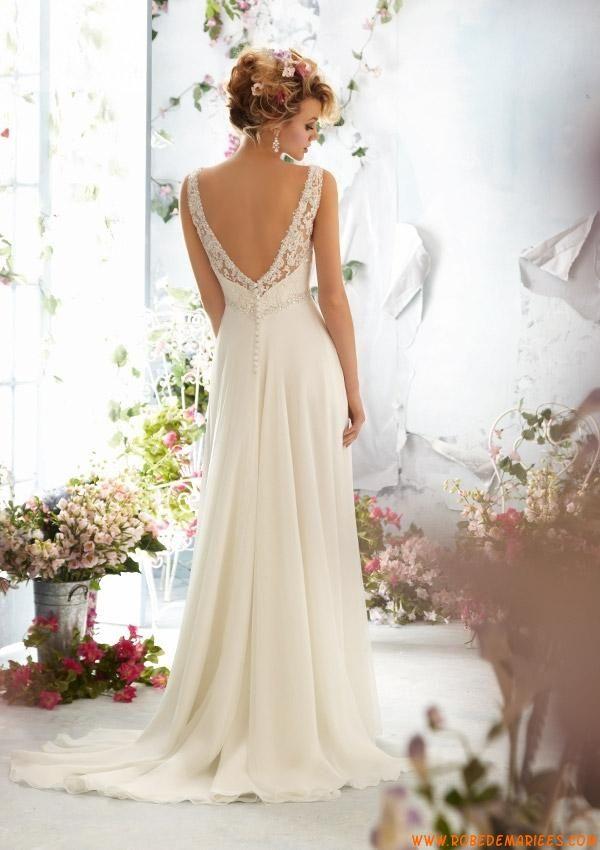 Robe de mariage empire mousseline dentelle perles